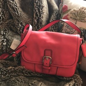 Coach Hadley Leather Field Bag NWT STRAWBERRY